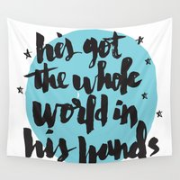 religious Wall Tapestries featuring He's Got the Whole World in His Hands by Matthew Taylor Wilson