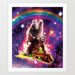 Space Cat Llama Sloth Riding Taco Art Print