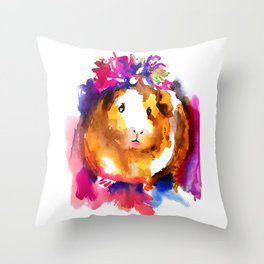 Guinea Pig in Flower Crown Throw Pillow