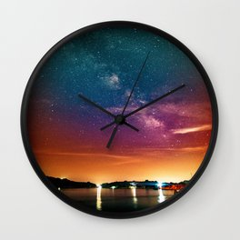 Milky Way over Water Wall Clock