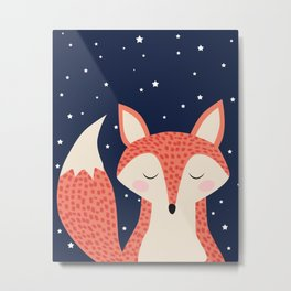 Sleepy Fox Metal Print