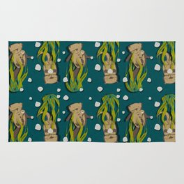 Significant otters teal Rug