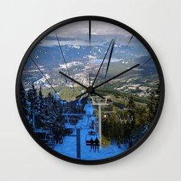 Ski lifts summer and winter Wall Clock