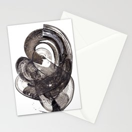 Abstract painting. Acrylic black brush strokes. Stationery Cards