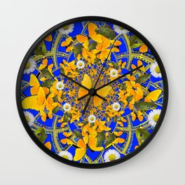 GREEN FROGS & BUTTERFLY WHITE DAISIES BLUE MANDALA Wall Clock