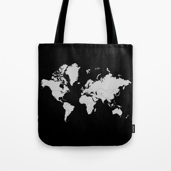 Minimalist World Map Gray on Black Background by constantchaos