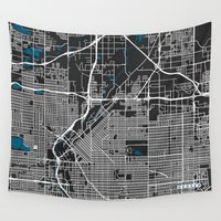 denver Wall Tapestries featuring Denver city map black colour by MCartography