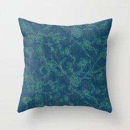 Flower Pattern (Green version) Throw Pillow