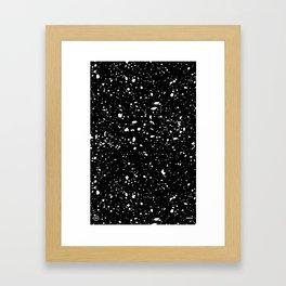 Retro Speckle Print - Black Framed Art Print