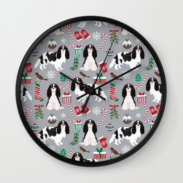 Cavalier King Charles Spaniel black and white christmas dog gifts pet friendly Wall Clock