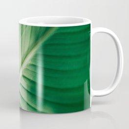 Close Up Of Green Tropical Textured Leaf Coffee Mug