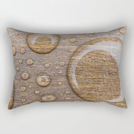 Water Drops on Wood 3 Rectangular Pillow