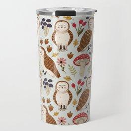 Woodland Owls Pattern Travel Mug