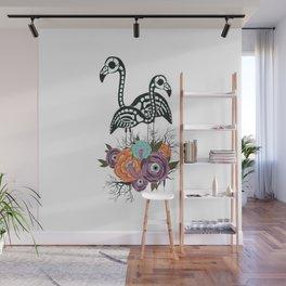 Flamingo Skeleton With Halloween Flowers Wall Mural