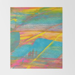 Rainbow and Gold Bold Abstract Painting Throw Blanket