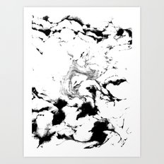 Suminagashi black and white marble spilled ink ocean swirl watercolor painting Art Print