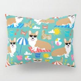 Corgi Sandcastles summer beach day print corgi beach ball sun dog pattern Pillow Sham