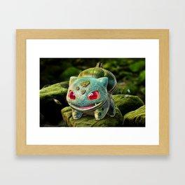 Realistic Bulbasour Framed Art Print