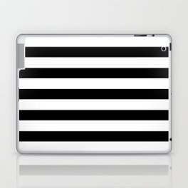 Midnight Black and White Stripes Laptop & iPad Skin