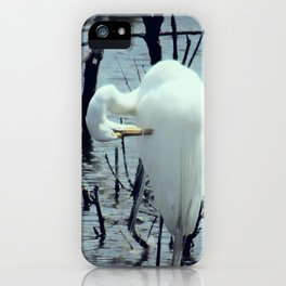 Great Egret in Water A108 iPhone Case