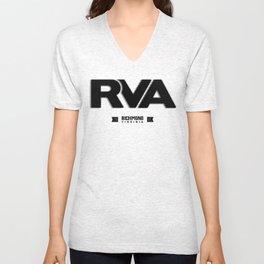 "Rva Logo - Black   "" Striped Outline "" Unisex V-Neck"