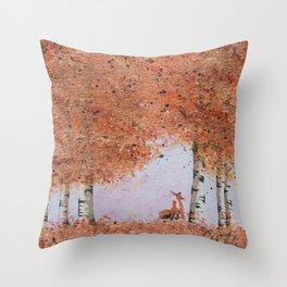 Autumn Birch Fox Throw Pillow