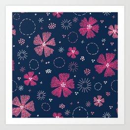 Carthusian Pink Embroidery Art Print