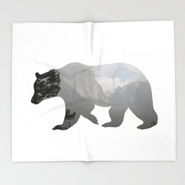 Grizzly Bear with Yosemite Photo Inlay Throw Blanket