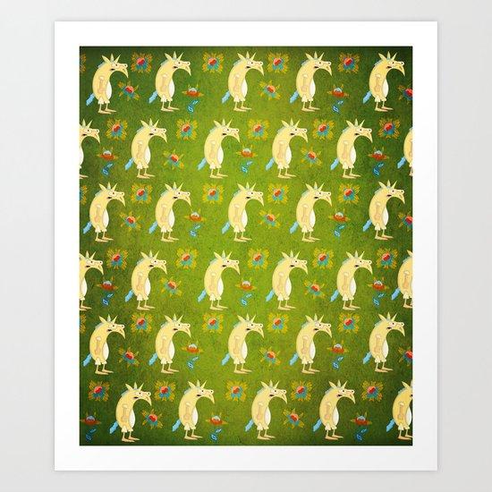 Flowers & Unicorns Art Print