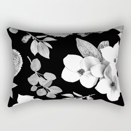 Night bloom - moonlit bw Rectangular Pillow