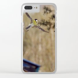blue tit flying Clear iPhone Case