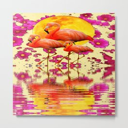 TROPICAL FLAMINGOS FUCHSIA FLORAL MOON ART Metal Print