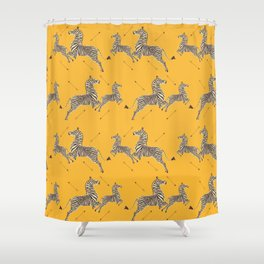 Royal Tenenbaums Zebra Wallpaper - Mustard Yellow Duschvorhang