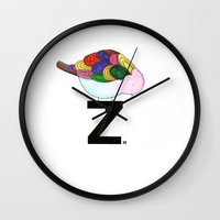 "dragonball z Wall Clocks featuring ""z?"" by deolinda"