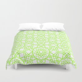 Neon Kaleidoscope Pattern Green Duvet Cover