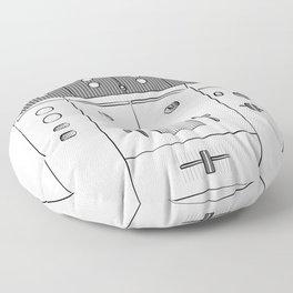 Dj Mixer illustration - 90s music equipment - sketch pop art drawing Floor Pillow