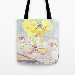I Love Yellow Roses at Tea Time Tote Bag