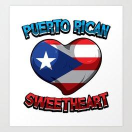 Puerto Rican Sweetheart - Boricua Heart Art Print