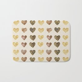 Gold and Chocolate Brown Hearts Bath Mat