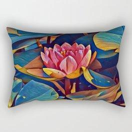 Painted Waterlily Rectangular Pillow