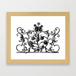 Antique Iron Gate with Flowers Framed Art Print