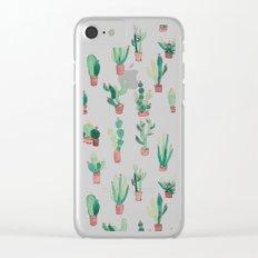 litle watercolor pocket cactus Clear iPhone Case