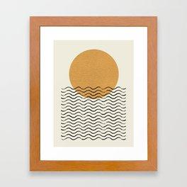 Ocean wave gold sunrise - mid century style Framed Art Print