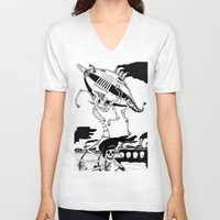 led zeppelin V-neck T-shirts featuring Zeppelin by Saskia Juliette