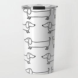 Dachshund in black-white Travel Mug