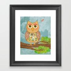 Woodland Owl in a Tree Framed Art Print