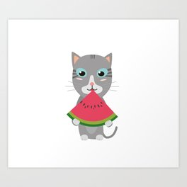Cat with Melon Art Print