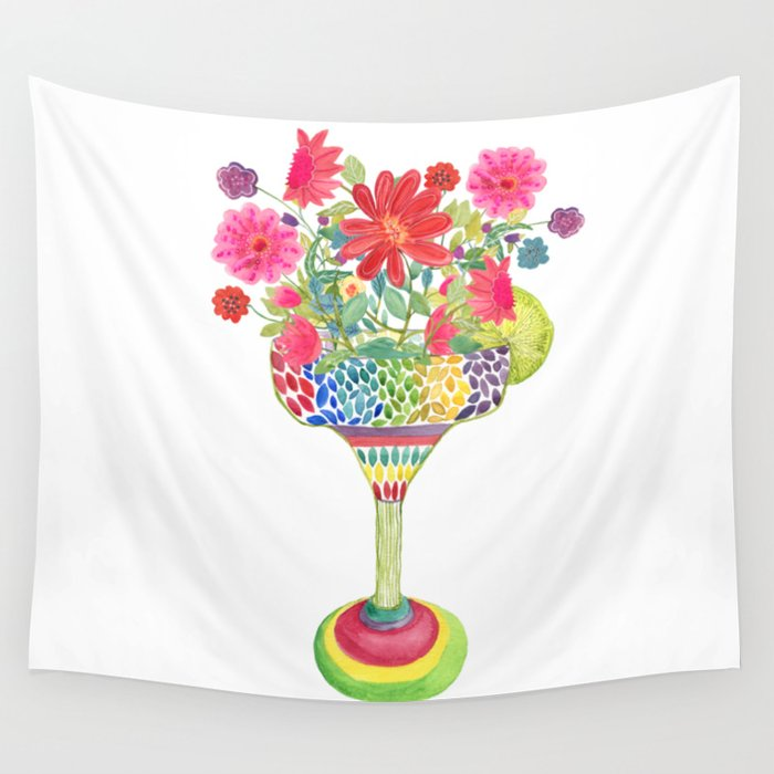 Margarita Glass Bursting with Flowers Wall Tapestry