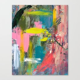 Collision - a bright abstract with pinks, greens, blues, and yellow Canvas Print