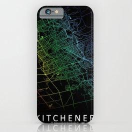 Kitchener, ON, Canada, City, Map, Rainbow, Map, Art, Print iPhone Case